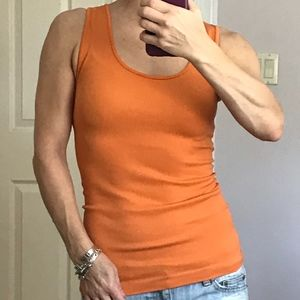 Lipstick orange stretch knit tank top OS